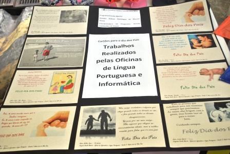 Exposição de trabalhos de alunos no evento